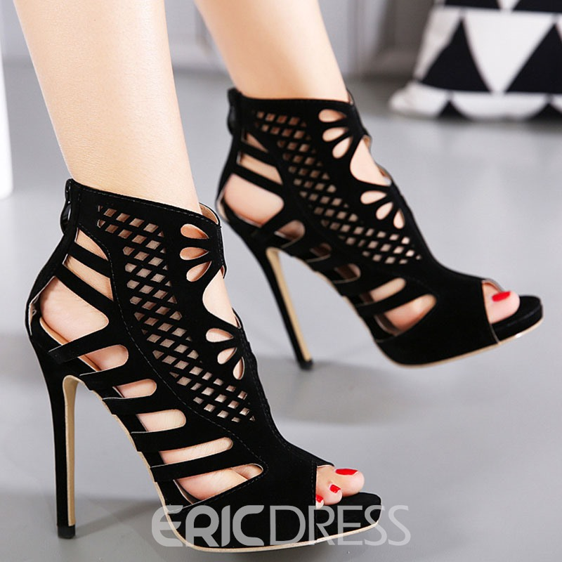 Ericdress Charming Cut Out Peep Toe Stiletto Sandals