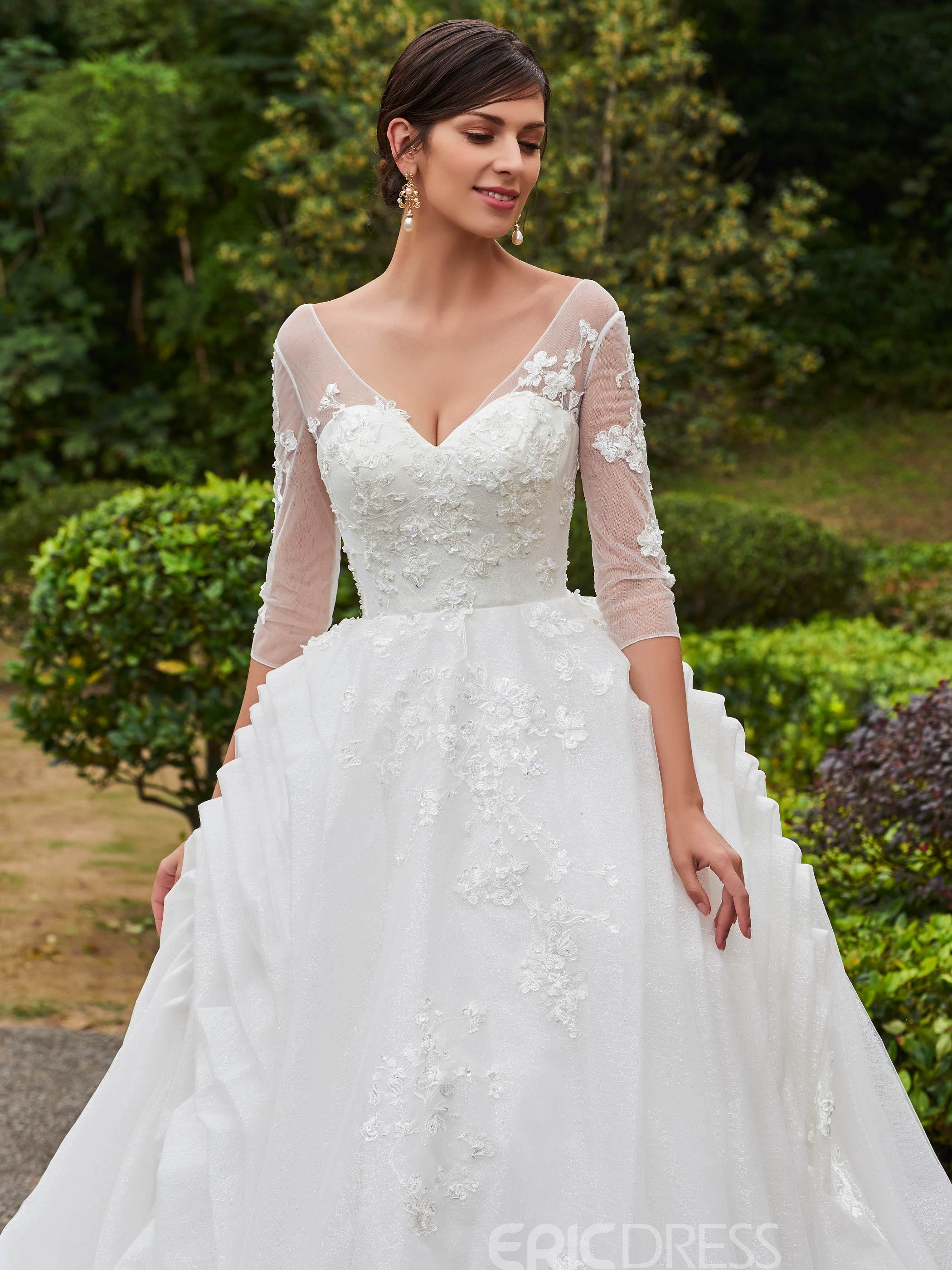Ericdress Elegant Appliques V Neck A Line Wedding Dress With Sleeves