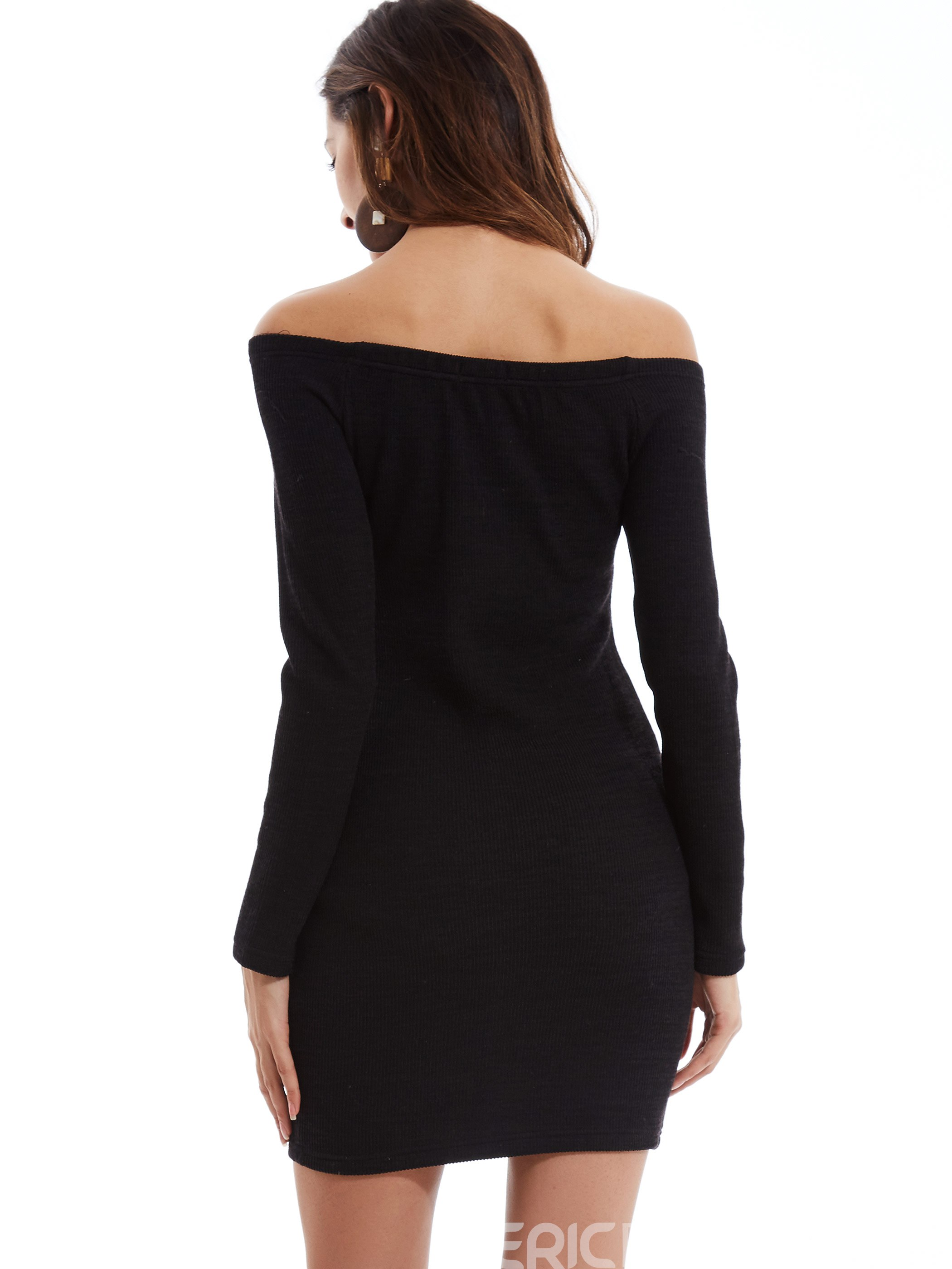 Ericdress Slash Neck Single-Breasted Bodycon Dress