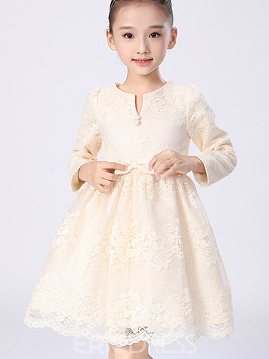 Ericdress Floral Lace Bow Princess Girls Dress