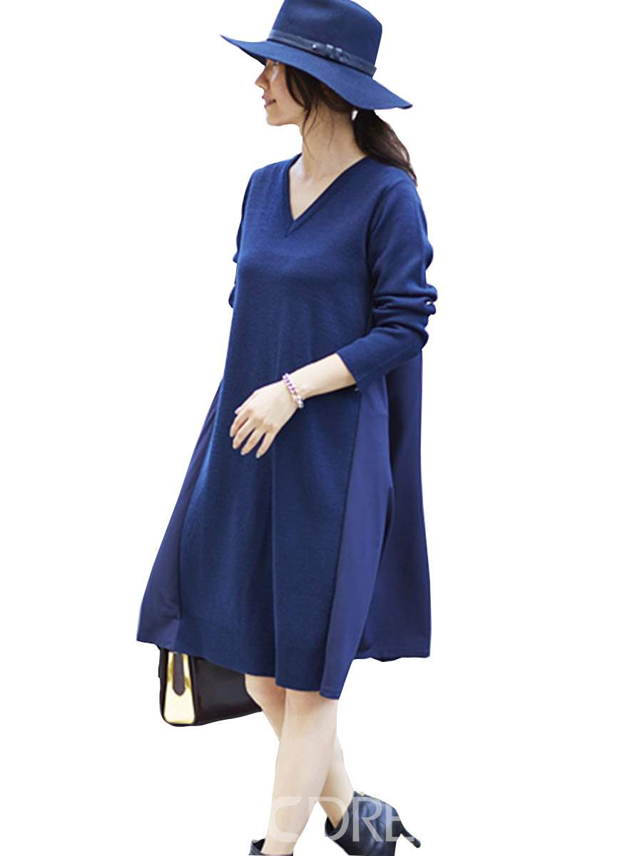 Ericdress Color Block V-Neck A-Line Day Dress