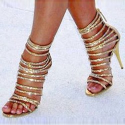 Ericdress Solid Color Sequined Zipper Stiletto Sandals thumbnail