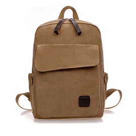 Ericdress Unisex Solid Color Canvas Backpack