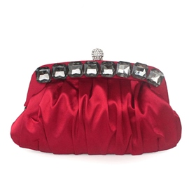 Ericdress Popular Wrinkle Diamante Satin Evening Clutch