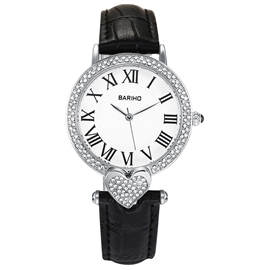Ericdress Heart-Shaped Diamante Black Band Women's Watch