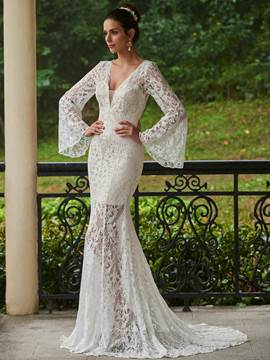 Ericdress High Quality V Neck Long Sleeves Lace Mermaid Wedding Dress