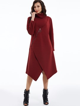 Ericdress Zipper Plain Turtleneck Asymmetrical Casual Dress