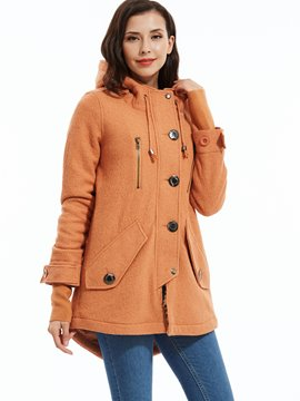Ericdress Plain Single-Breasted Hooded Overcoat