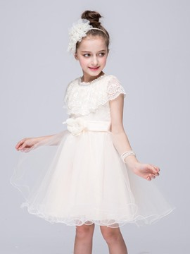 Ericdress Lace Ball Gown Sleeveless Girls Dress