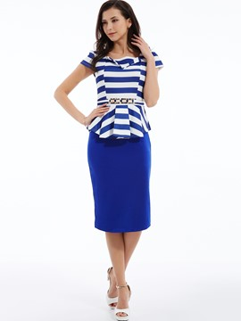 Square Neck Stripe Bodycon Dress