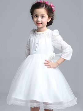 Ericdress White Lace Patchwork Princess Girls Dress