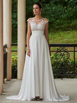 Ericdress A Line Chiffon Appliques Beaded Scoop Wedding Dress