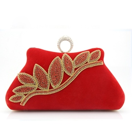 Ericdress Classic Shiny Diamante Leaf Evening Clutch