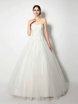 Ericdress Appliques Beaded Strapless Ball Gown Wedding Dress