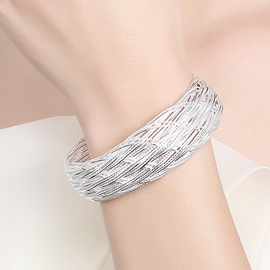 Ericdress Mesh Design Silver Plated Opening Bracelet