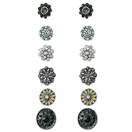 Ericdress Six Pieces Black-Tone Resin Stud Earrings