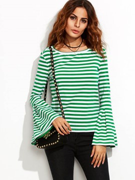 Ericdress Cross Stripe Flare Sleeve T-Shirt