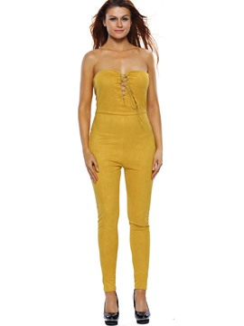 Ericdress Asymmetric Backless Lace-Up Skinny Jumpsuits Pants