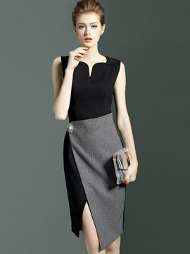 Ericdress Color Block Patchwork Split Sheath Dress