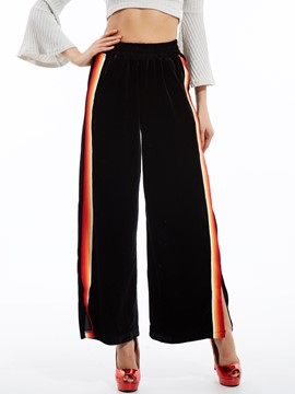 Ericdress Stripe Patchwork Wide Legs Pants