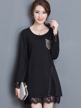 Ericdress Black Lace Patchwork Loose T-Shirt