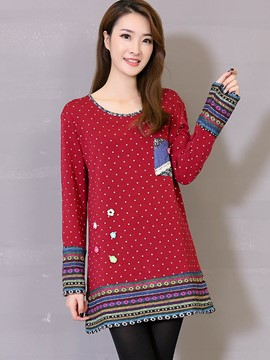 Ericdress Red Polka Dots Ethnic T-Shirt