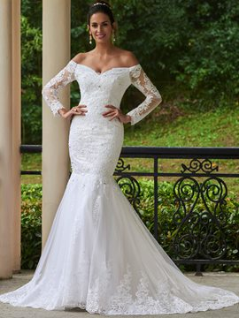 Ericdress Elegant Appliques Beaded Off The Shoulder Long Sleeves Mermaid Wedding Dress