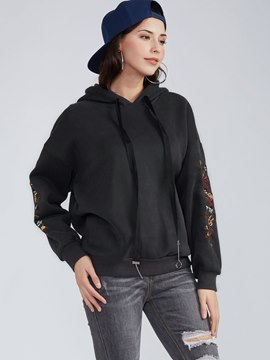 Ericdress Drawstring Flower Embroideried Hooded Hoodie
