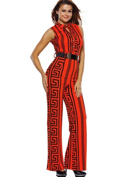 Ericdress Sleeveless Belt Red Women's Jumpsuits