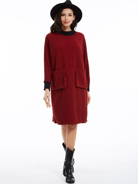 Ericdress Pocket Patchwork Plain Round Neck Casual Dress