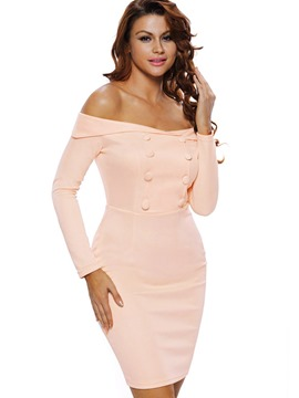 Ericdress Solid Color Slash Neck Button Bodycon Dress