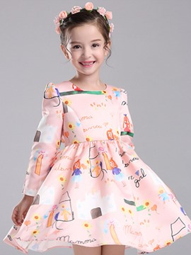 Ericdress Printed Long Sleeve Girls Dress