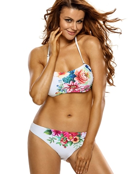 Ericdress Exquisite Flower Pattern Halter Bikini
