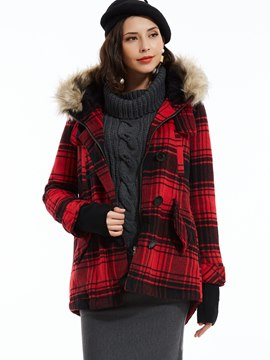 Ericdress Straight Single-Breasted Plaid Hooded Coat