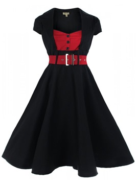 Ericdress Christmas Square Neck Button Patchwork Belt Pleated Casual Dress