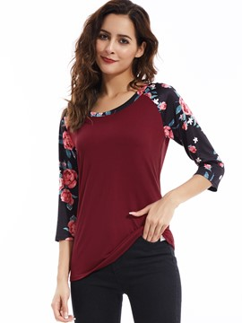 Ericdresss Floral Print Three-Quarter Sleeve T-Shirt