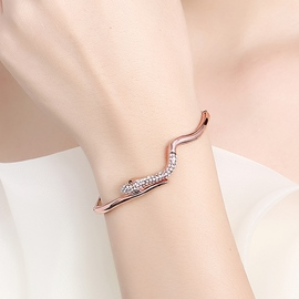 Ericdress Rose Gold Snake Diamante Design Bracelet