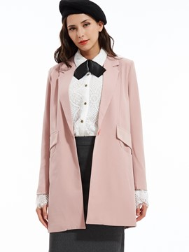 Ericdress Plain Notched Lapel One Button Blazer