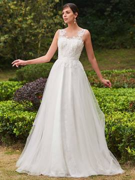 Ericdress Casual Scoop Appliques A Line Beach Wedding Dress