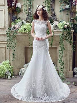 Ericdress Scoop Appliques Beaded Mermaid Wedding Dress