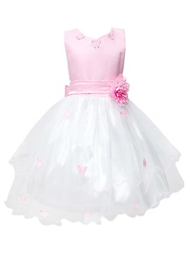 Ericdress Flower Butterfly Sleeveless Girls Princess Dress
