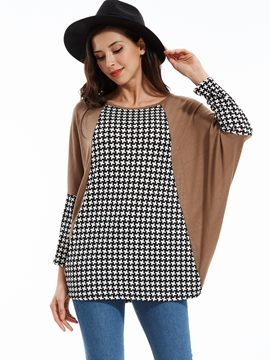 Ericdress Loose Color Block Houndstooth T-shirt