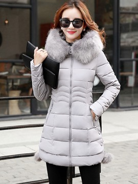 Ericdress Solid Color Zipper Faux Fur Collar Slim Coat