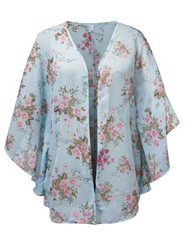 Ericdress Floral Print Batwing Sleeve Blouse