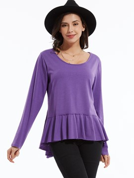 Ericdress Plain Round Neck Falbala T-shirt
