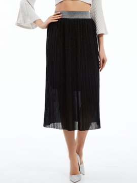Ericdress Plain Mid-Waist Pleated Skirt