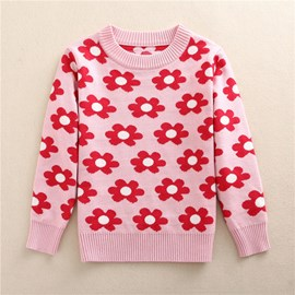 Ericdress Thick Lovely Floral Pattern Fall And Winter Girls Sweater