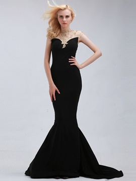 Ericdress High Neck Beaded Mermaid Evening Dress With Sheer Back