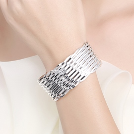 Ericdress Fashion Weave Mesh Silver Plated Opening Bracelet