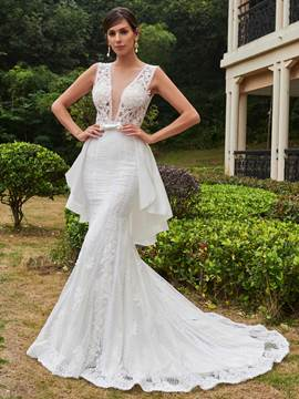 Ericdress Sexy Illusion Neckline Backless Lace Mermaid Wedding Dress